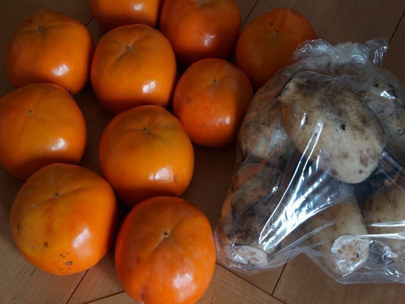 甘柿と蓮根
