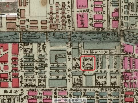 京都區組分名所新圖 - 改正新刻(明治20年・1887)-日文研所蔵地図