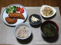 11/14 夕食 ささみカツ、豆腐のみそ漬け、春雨サラダ、海苔の味噌汁、雑穀ご飯