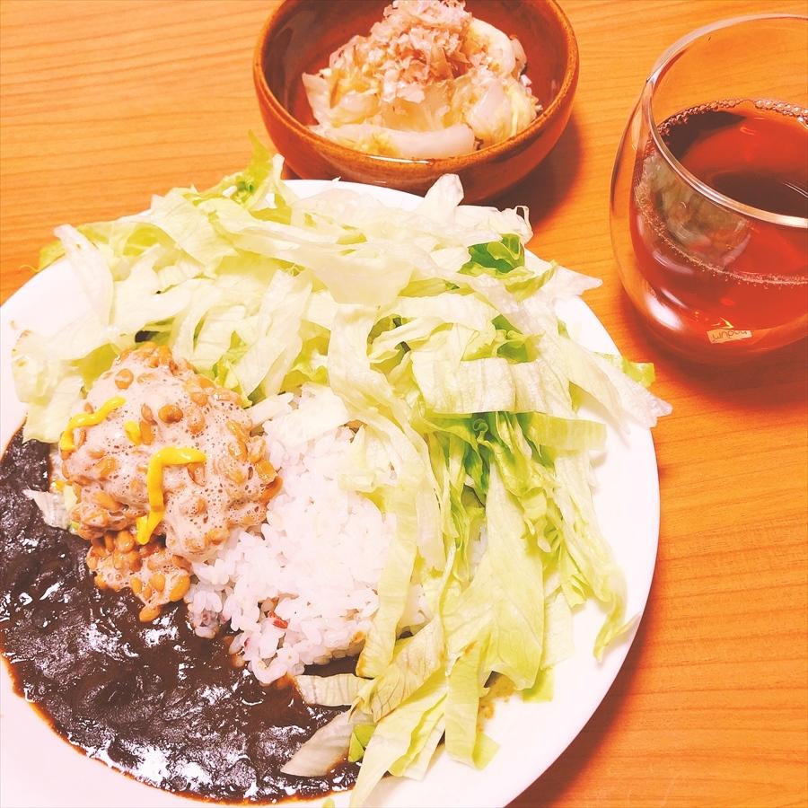 納豆カレープレート 白菜の漬物