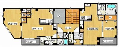 2〜4階間取り図