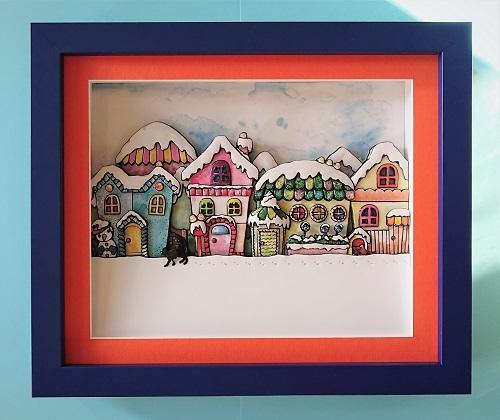 湯本千絵「冬の町」オリジナルシャドーボックス