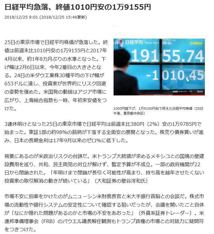 12月25日株価1000円下
