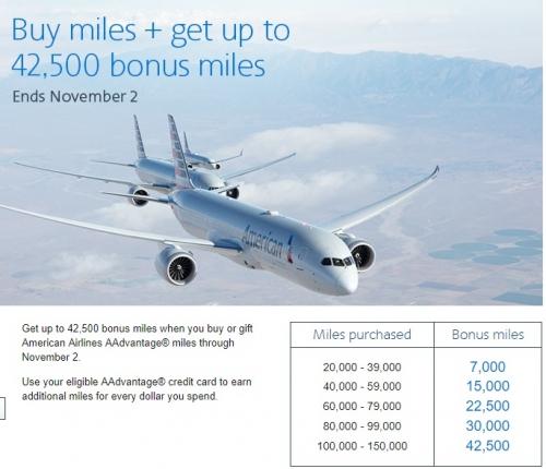 アメリカン航空のAAdvantage マイル購入で42500ボーナスマイル