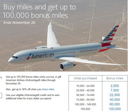 アメリカン航空のAAdvantage マイル購入で最大100000ボーナスマイル