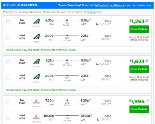 アリタリア航空 カイロから成田までビジネスクラス往復が$ 1264USD