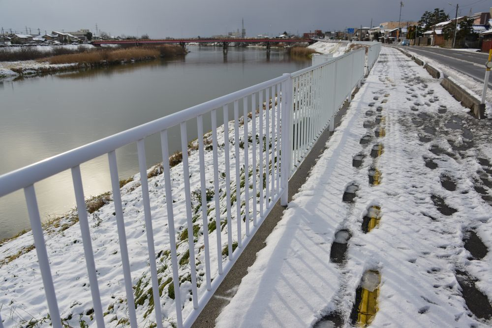 雪の土手道散歩-3