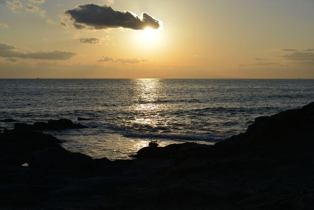 野島崎の夕陽-2