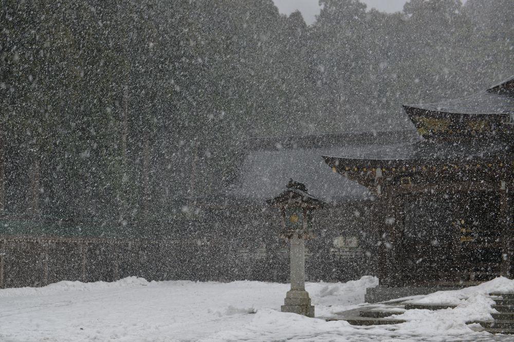 雪舞う神社-3
