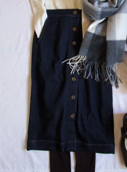 ユニクロ白タートルネックセーター・PLSTデニムスカート・スマートピンクコート VITANOVAパンプス (1)