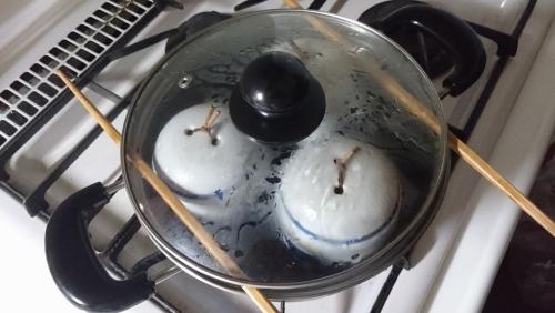 ふつうの両手鍋で茶わん蒸し 手順 (3)