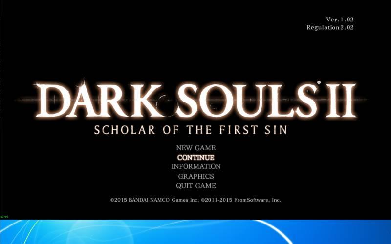 Borderless Gaming 8.4 を使ってアスペクト比を維持したまま、WXUGA モニター(1920x1200)でボーダーレスフルスクリーン(仮想フルスクリーン)で表示された DX11 版 Dark Souls II Scholar of the First Sin のゲーム画面 モニター画面左上隅 原点座標(0,0)基準 解像度 1920x1080 ゲーム画面表示状態