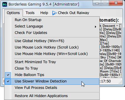 Borderless Gaming 9.5.4 CPU 使用率を少なくする方法、Use Slower Window Detection にチェックマーク