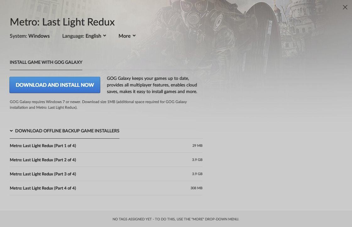 GOG 版 Metro Last Light Redux インストール、日本語化 Mod 動作確認済み
