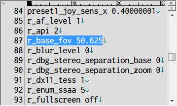Metro 2033 Redux FOV 設定 user.cfg r_base_fov 50.625 (デフォルト FOV 値)