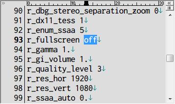 Metro 2033 Redux ウィンドウモード設定 user.cfg r_fullscreen off(ウィンドウモード)