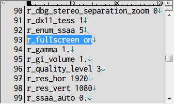 Metro 2033 Redux ウィンドウモード設定 user.cfg r_fullscreen on(フルスクリーン)(デフォルト)