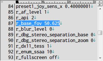 Metro Last Light Redux FOV 設定 user.cfg r_base_fov 50.625 (デフォルト FOV 値)