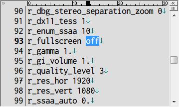 Metro Last Light Redux ウィンドウモード設定 user.cfg r_fullscreen off(ウィンドウモード)