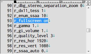 Metro Last Light Redux ウィンドウモード設定 user.cfg r_fullscreen on(フルスクリーン)(デフォルト)