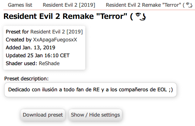 Steam 版 バイオハザード RE:2 ReShade インストール設定、ReShade プリセット Resident Evil 2 Remake Terror ダウンロード