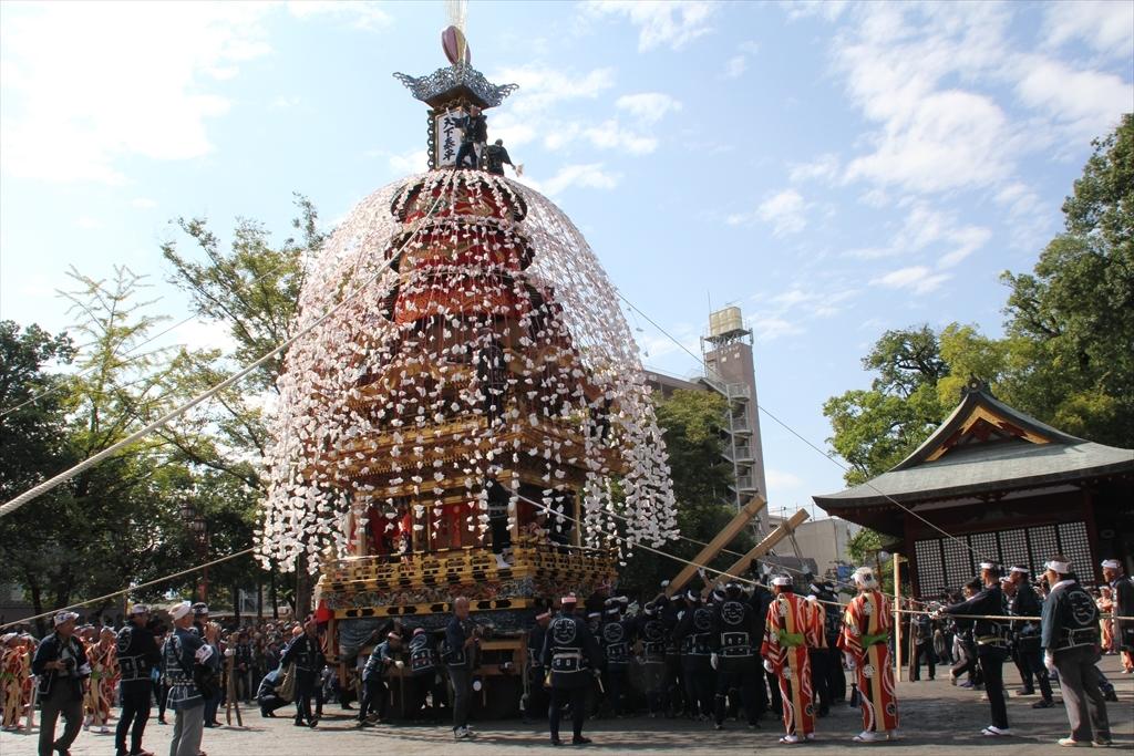 2012年10月の特別催行のときの下郷笠鉾の方向転換の様子_2