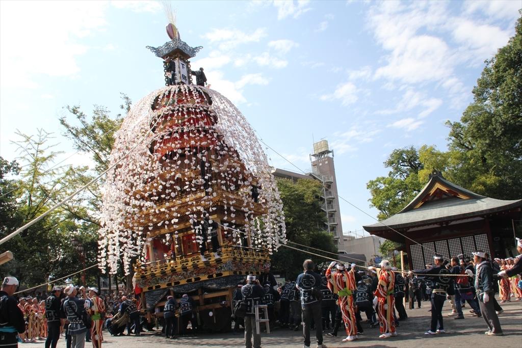 2012年10月の特別催行のときの下郷笠鉾の方向転換の様子\3