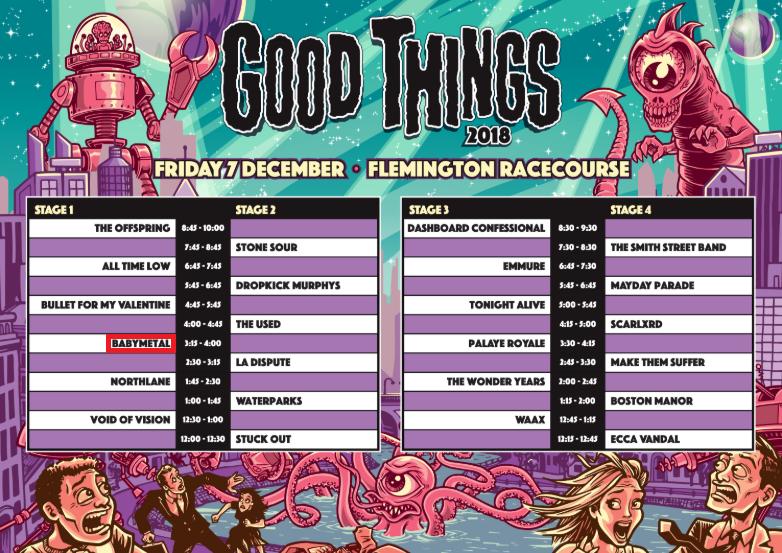 BABYMETAL出演『Good Things Festival 2018』(メルボルン)のセットリストと開始前の様子