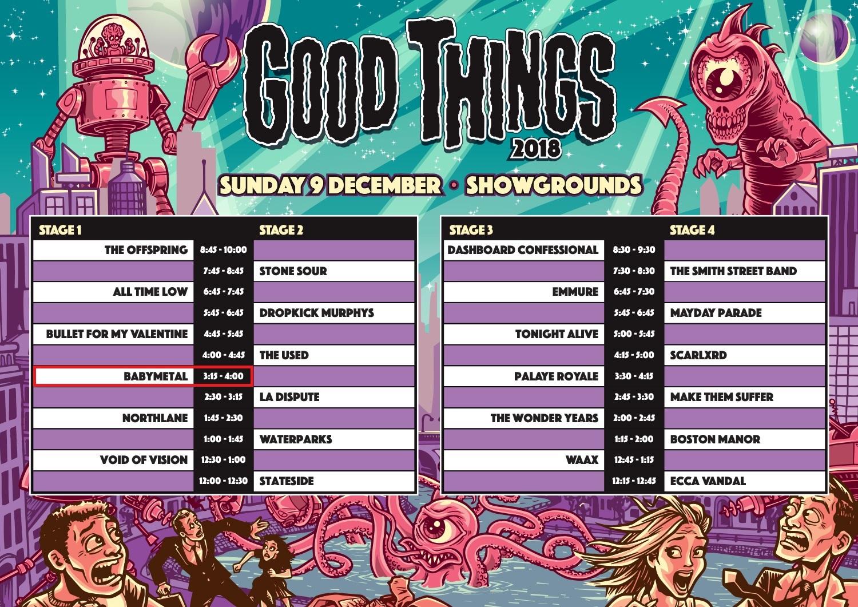 BABYMETAL出演『Good Things Festival 2018』(ブリスベン)のセットリストと開始前の様子