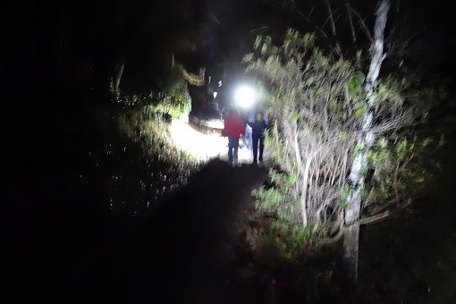 暗い中ひたすら山登り