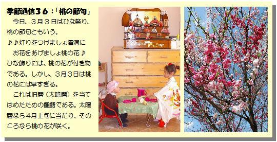 季節通信36桃の節句
