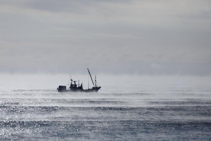 4536 海霧と漁船