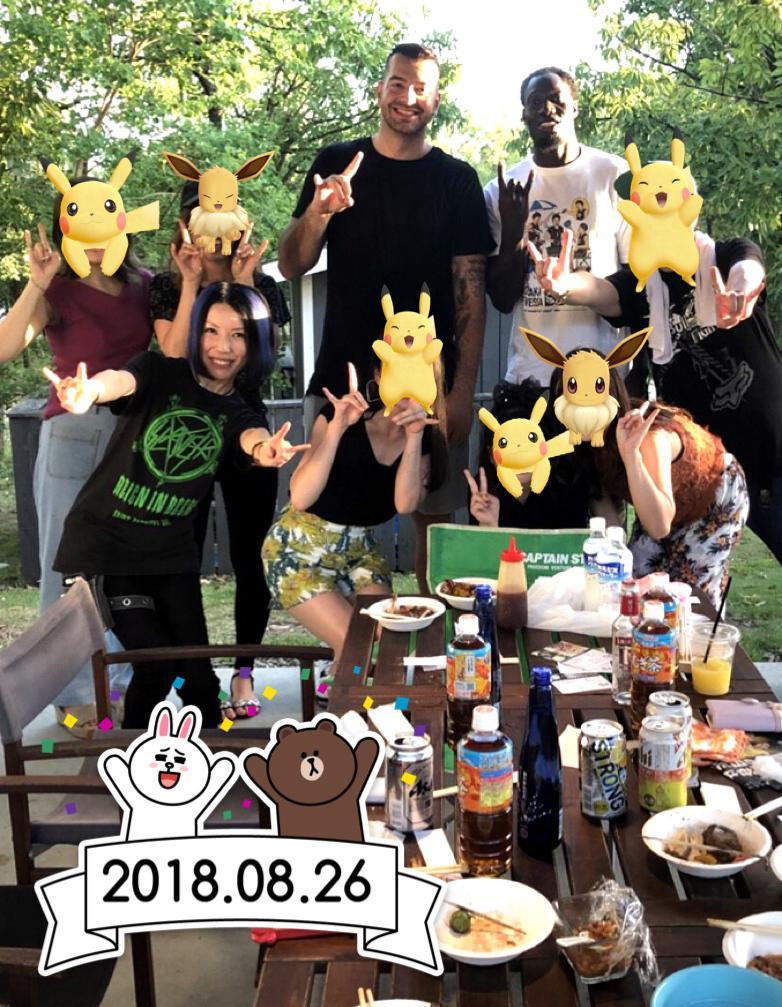 大阪エヴェッサBBQ2018年8月withジョシュハレルソン&パプちゃん