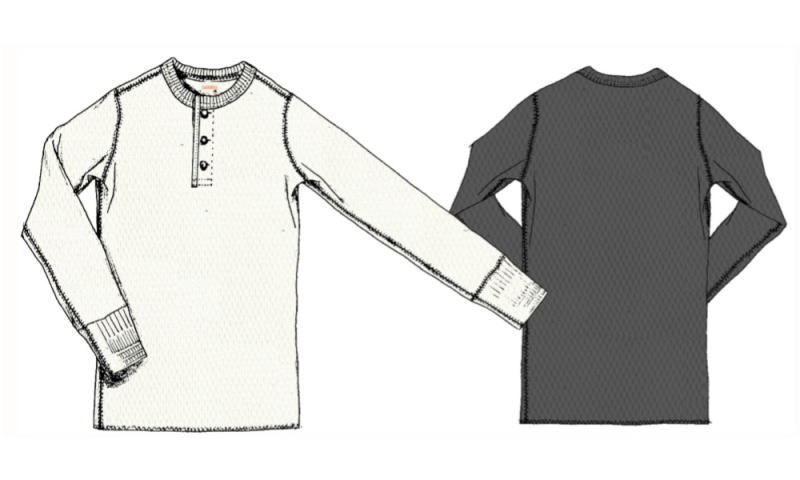 GLA DHAND WAFFLE HENRY L/S T-SHIRTS