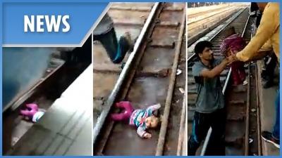 【苦笑】線路に赤ん坊が落ちた・・・