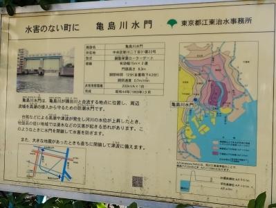 亀島川水門案内板