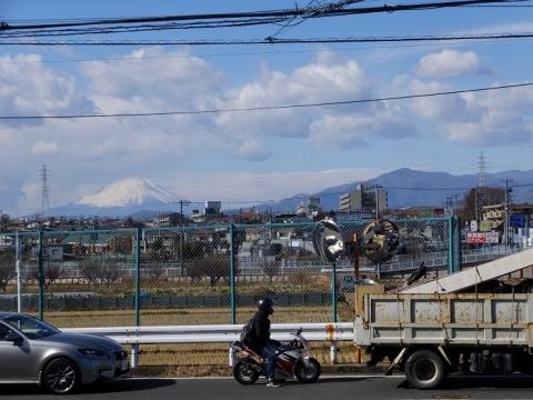 大山道より富士山と大山を望む