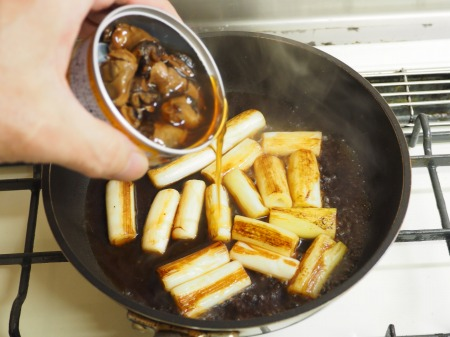 つぶ貝缶詰と長ねぎのうま煮009