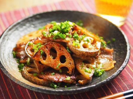 レンコンと豚バラの照り焼き011