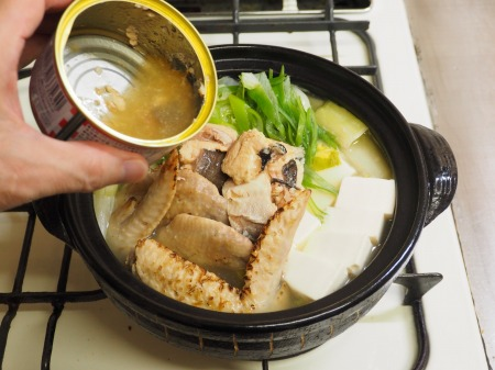 鮭缶水炊き、チキンラーメン085
