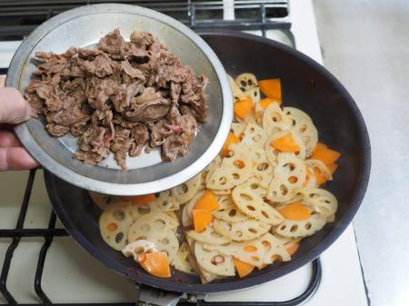 れんこんと牛肉のきんぴら052