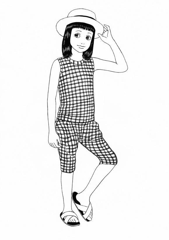 まりのファッションスケッチ 《ギンガムチェック》