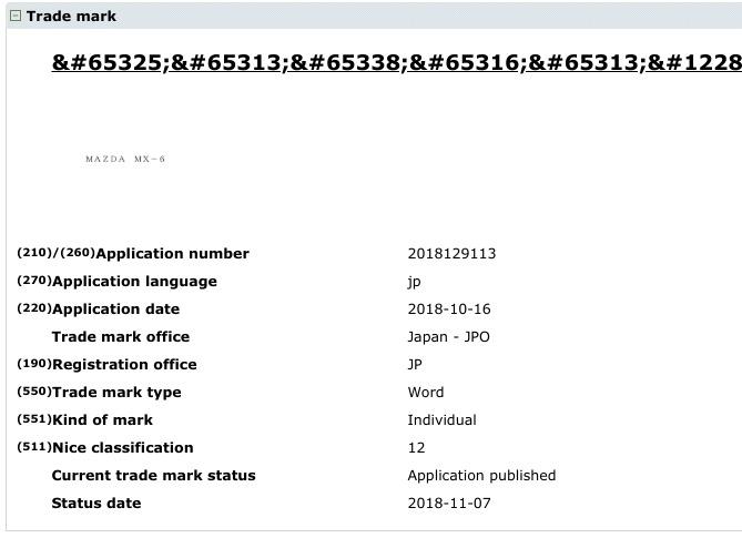 MAZDA MX-6 patent