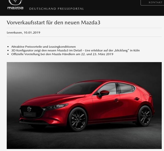 Vorverkaufsstart für den neuen Mazda3