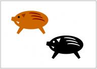 猪(イノシシ)のフリー素材テンプレート・図形・イラスト