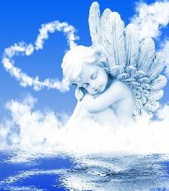 21940048-水の中の雲の前に天使を夢します。