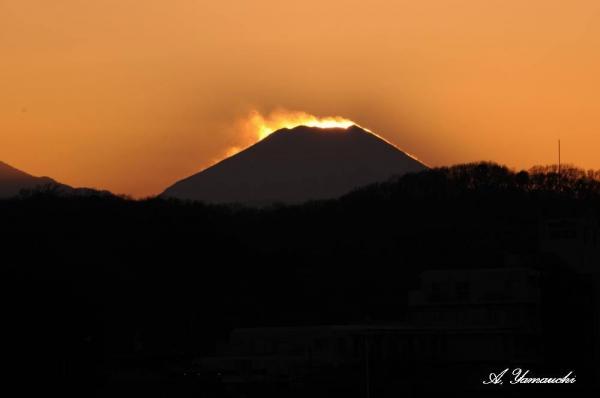 陽が山頂に沈むと雪煙が舞うのがよく見えます