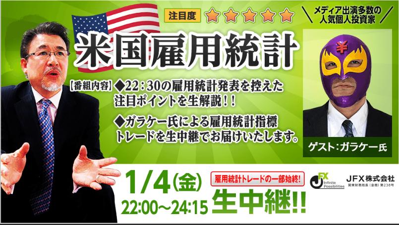 JFXさん 米雇用統計LIVE!