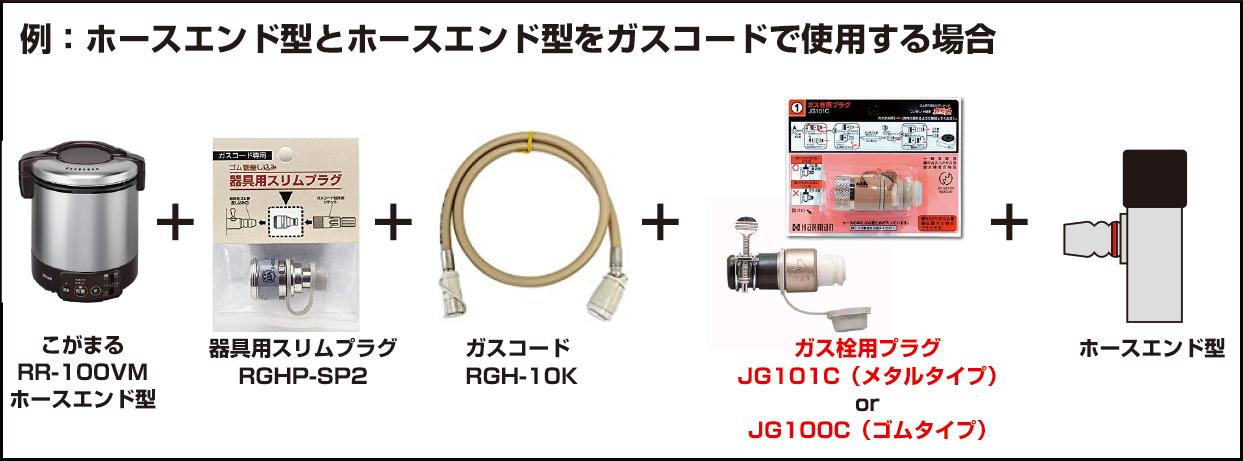ホースエンド型のガス炊飯器とガス栓をガスコードで接続する場合