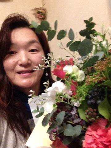 ●母からのお花と私IMG_3987